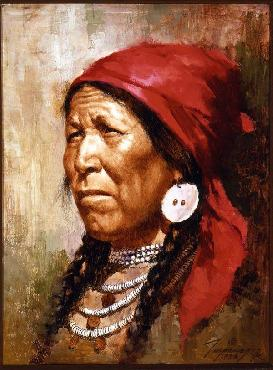 Howard Terpning Woman with Red Scarf Giclee on Canvas