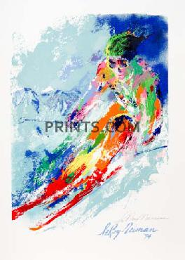 LeRoy Neiman World Class Skier Hand Signed by LeRoy Neiman Serigraph