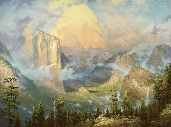 Thomas Kinkade Yosemite Valley, Late Afternoon Light at Artist