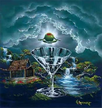 Michael Godard Zen Martini 2: Tranquility Found Giclee on Canvas